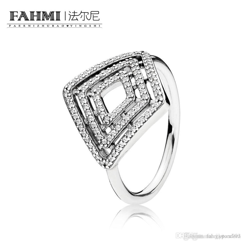 FAHMI 100% de plata esterlina 925 1: 1 original auténtico encanto 196210CZ Temperamento Moda Retro Glamour boda Mujeres Anillo de joyería