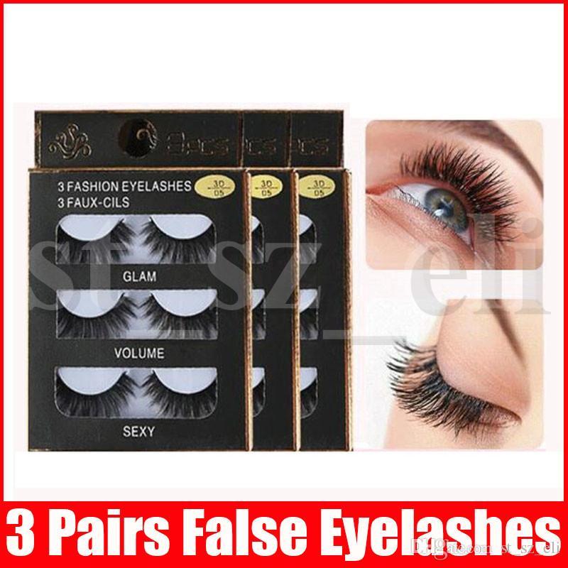 10 Styles 3D false eyelashes Handmade 3 Pairs/set Beauty Thick Long Soft lashes Fake Eye Lashes Eyelash Sexy High Quality