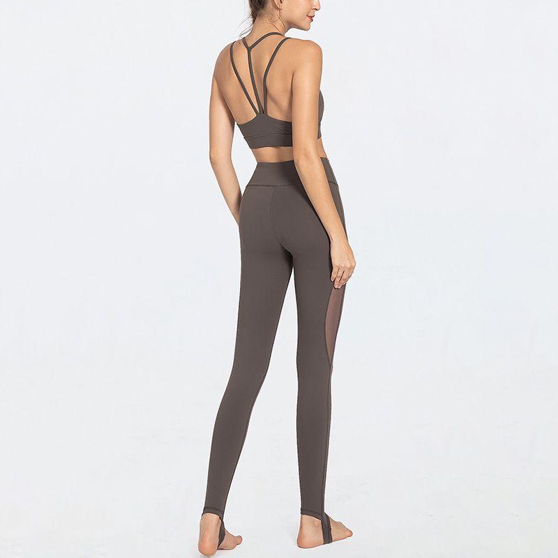 2pcs Seamless Mesh Pants Yoga Set Double Strap Padded Sport Bra High Waist Gym Leggings Women Fitness Yoga Suits Sportswear T200411