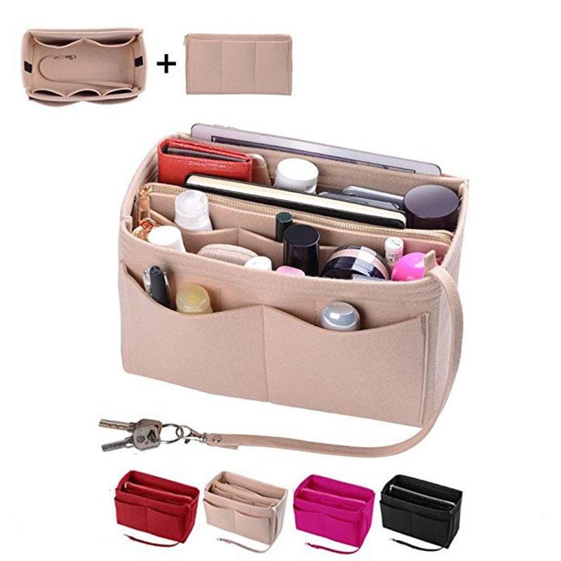 Borsa di stoccaggio cosmetici, borsa da viaggio portatile Assistente trucco plut in feltro adatto per vari spazi di marca Borsa in nylon design multi-tasca