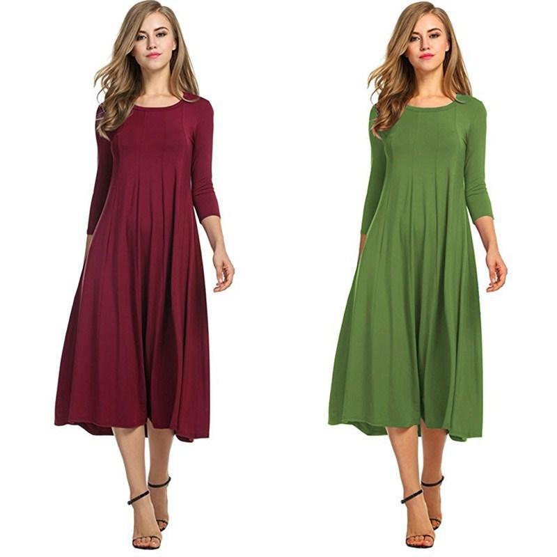 2019 femmes couleur unie coton rétro robe décontractée longue robe lâche