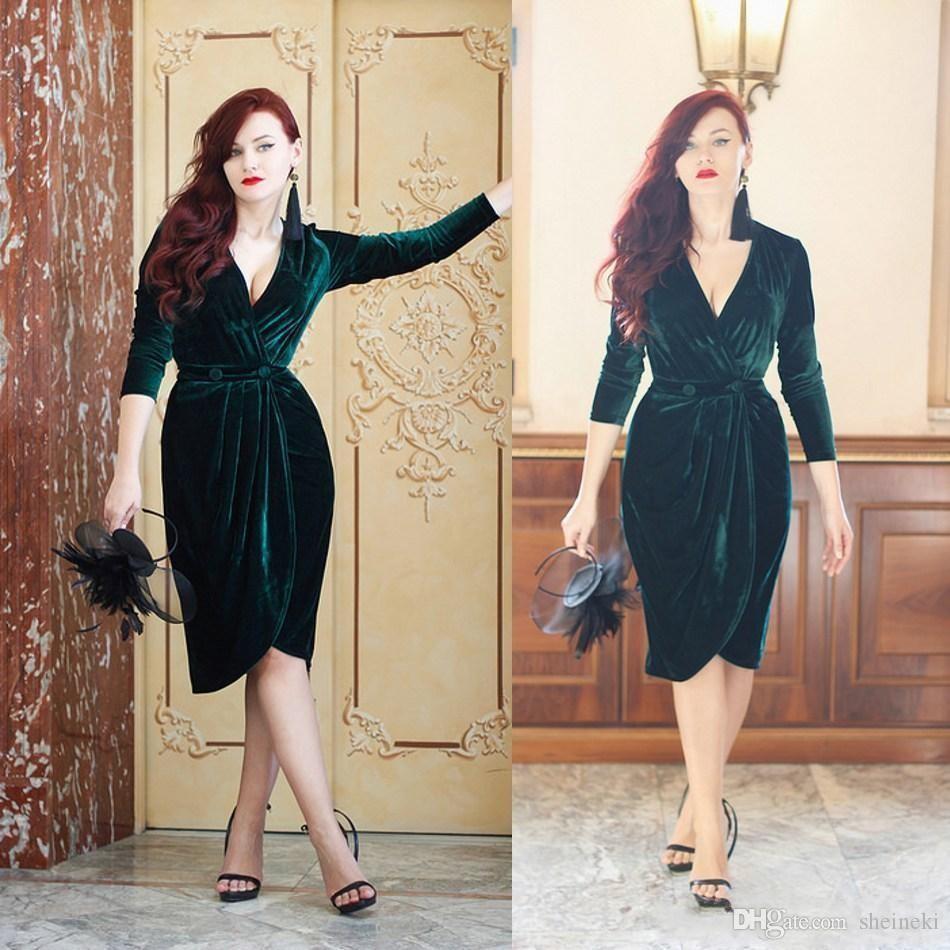 Emerald Green Velvet V Neck Short Prom Dresses Long Sleeves Dresses Knee Length Formal Gown Cocktail Party Dress ogstuff Cheap Simple