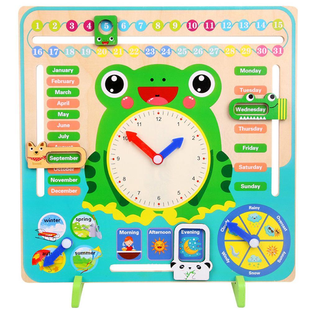venda quente do relógio do calendário de madeira educacional estação meteorológica brinquedos relógio suprimentos jogar bebê learningchildren