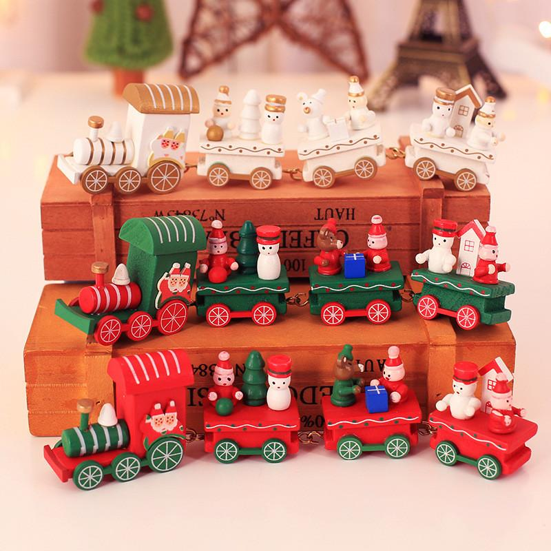 Christmas Train Painted Wood Children's Toys Gift New Year Christmas Decoration for Home Indoor Navidad Wooden Train Decor