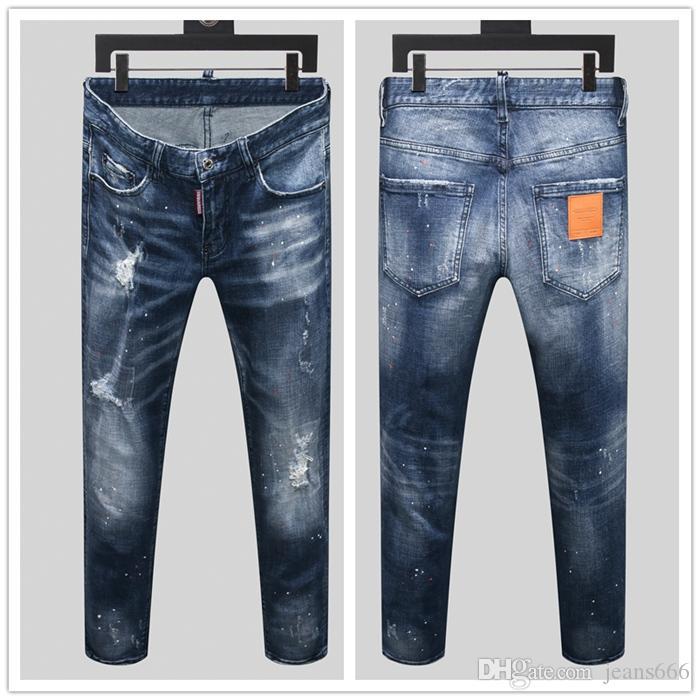 20ss страх Божий мужские дизайнерские джинсы роскошный синий джинсовый Жан бренд высокое качество брюки pour hommes рваные байкерские джинсы в продаже