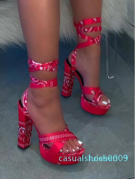 Fashion 2020 Summer Women Ankle Strrap Sandals Platform Square High Heels Print Sexy Wedding Party Ladies Shoes Zapatos De Mujer l03