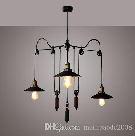 New 3 heads Mirror Pendant Lamp Shade E27 Retro Vintage Pulley Retractable Lights Loft Hanging 110V-220V MYY
