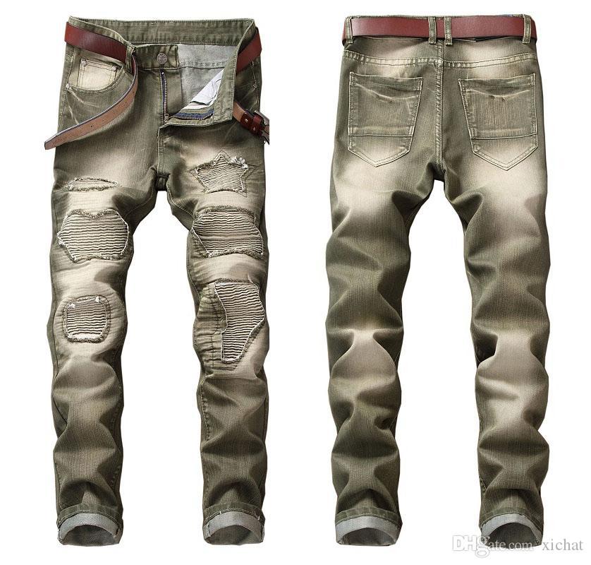 Único Mens plissado com painéis de Jeans Motociclista Designer de Moda Perna Reta Motocycle Slim Fit Lavado Luxurr Denim Calças Calças JB603