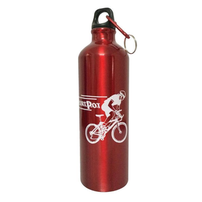 Botella de 750 ml de bicicletas botella de agua de aleación de aluminio de aislamiento al vacío Rojo