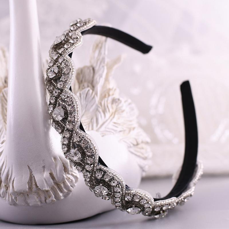 Düğün Boncuklu Kafa Barok Moda Kişilik Saç Hoop Trixy S28-FG Kristal başlıkiçi Düğün Gelin Bantlar