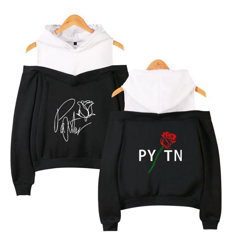 Fashion payton moormeier ladies suspenders sweatshirt women casual off-the-shoulder hoodies street wear black summer clothes
