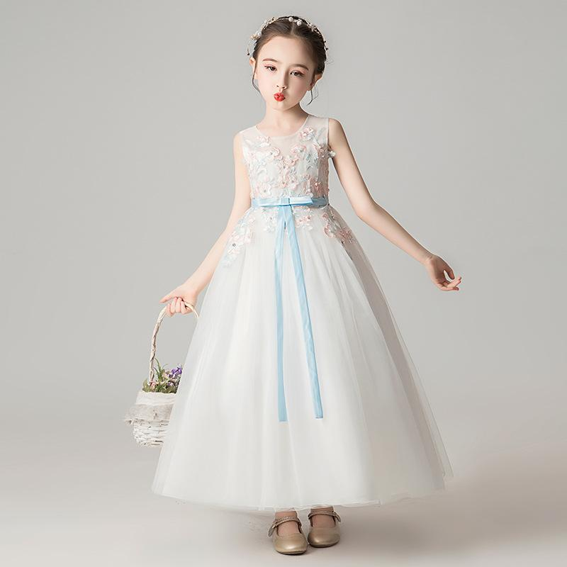 Retail custom girls princess dress wedding dresses flower embroidered pearl beading mesh party skirts kids boutique luxury clothes
