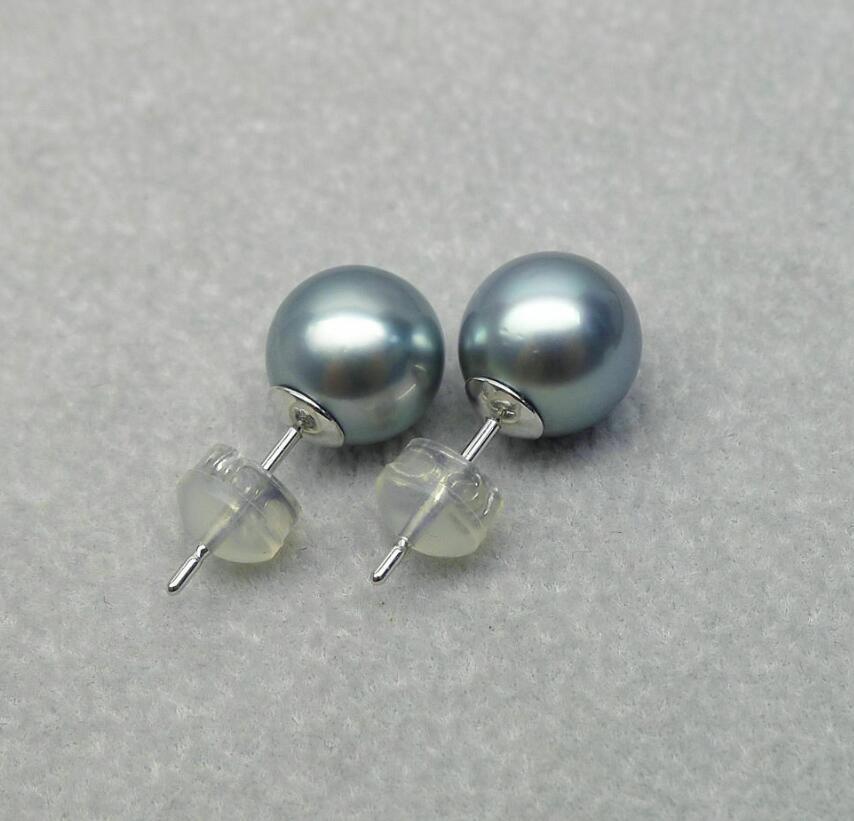 9-10MM Natural Gray Genuine Tahitian Pearl Ear Stud Earrings 18K White Gold