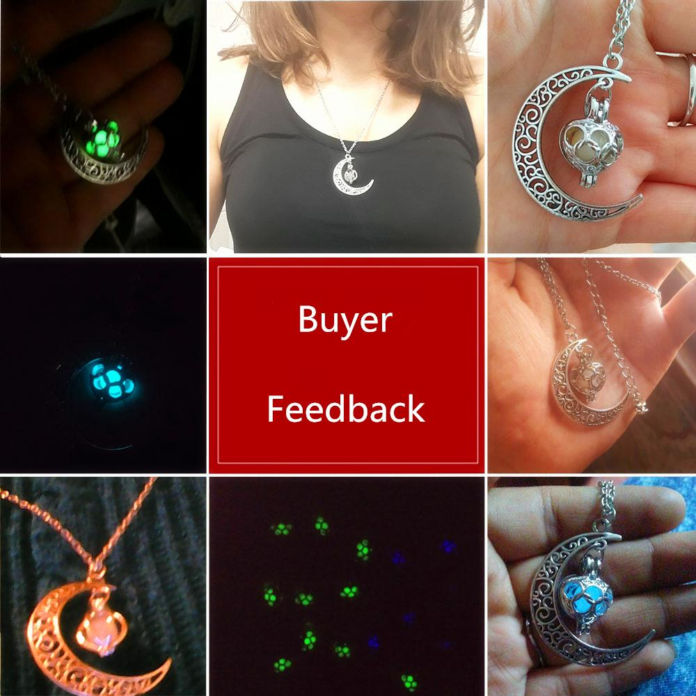 2020 Halloween Gifts Glowing Jewelry Bead Moon Necklace Silver Plated Necklace Glowing in Dark Pendant Necklaces Collares
