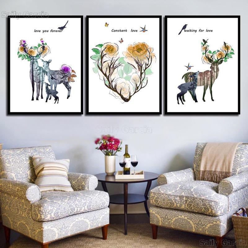 Домашнее украшение Отпечатки Картина Nordic Pictures Олень Цветок Письмо Wall Art Modular холст Плакат Современная Для Прикроватная фона