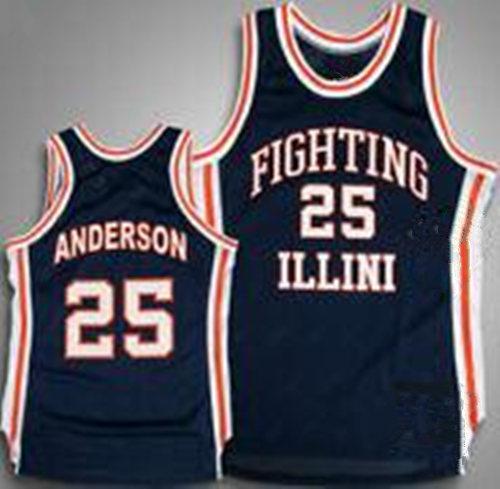 Illinois Fighting Número costurado sob encomenda do Jerseys de Illini Colégio 25 Nick Marinha Anderson retro azul Homens Camisa de basquete