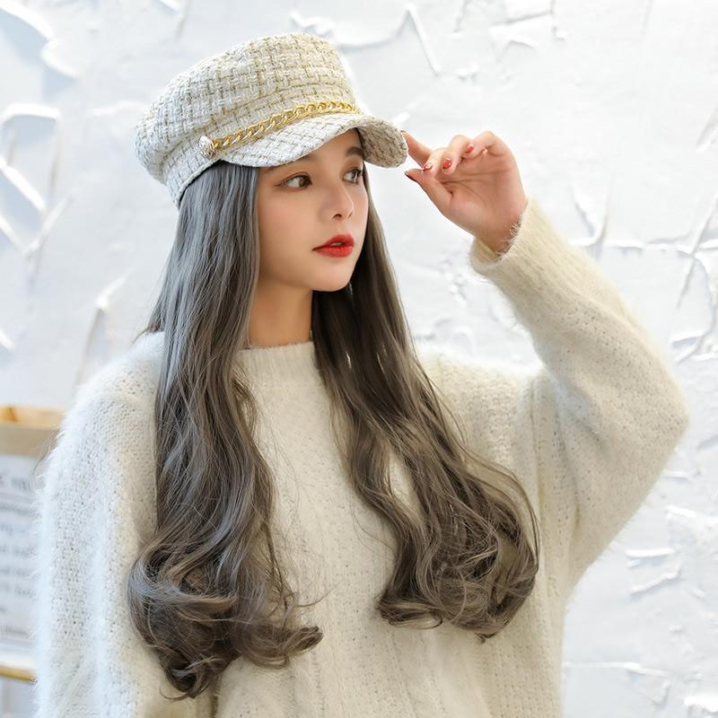 Nuovi cappelli di capelli delle donne del progettista parrucca cappello Ragazza siamesi onda parrucca Retro Beret Hat con capelli cappello sintetica per le donne estate berretto