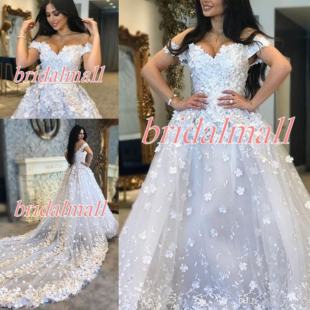 3D-Floral Appliqued Lace Wedding Dresses 2019 Off-shoulder African Bridal Gowns Plus Size Lace Up Back Bride Dress Custom Robes de mariée