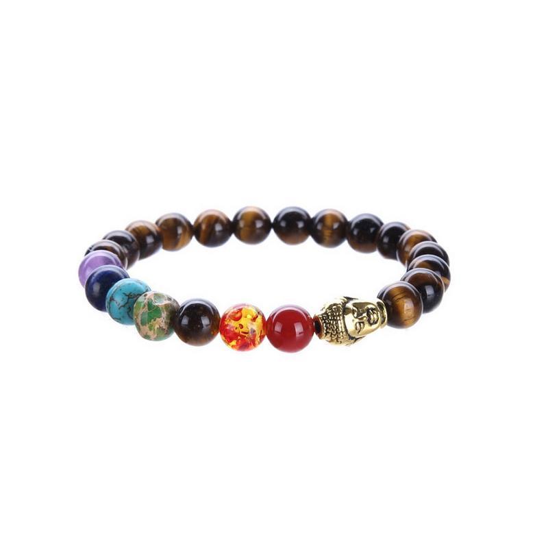 Natural Tiger Eye Beads Lapis Lazuli Stone 7 Chakra Bracelet Black Lava Turquoise Bracelet Yoga Energy Buddha Prayer 8mm Jewelry