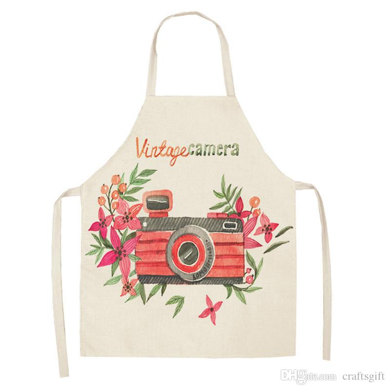 2Pcs 47*66cm Vintage Camera Printed Apron Dinner Party Cleaning Women Apron Kitchen Cotton Linen Barista Apron Chef Gift