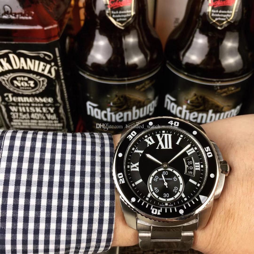 رأس رجل الرياضة ووتش CAR العيار DE W7100057 الأسود 42MM الياقوت الطلب 8215 التلقائي الفولاذ المقاوم للصدأ حزام رجالي مضيئة تاريخ ساعة اليد