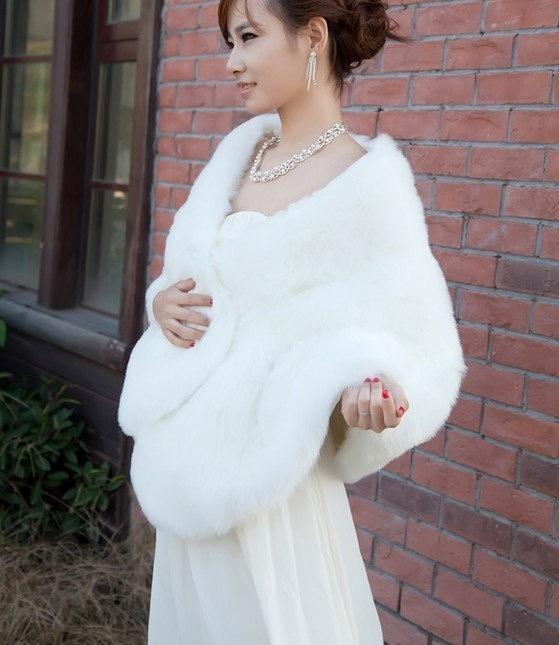 Ivory Свадебные шаль Свадебные Wrap искусственного меха Shrug Зимнее пальто зимы накидки женские шали Bolero