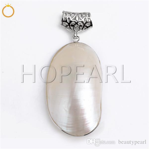 Big White Iridescent Oval Sea Shell Ciondolo semplice Natural Shell Beach Ciondolo gioielli regalo 5 pezzi
