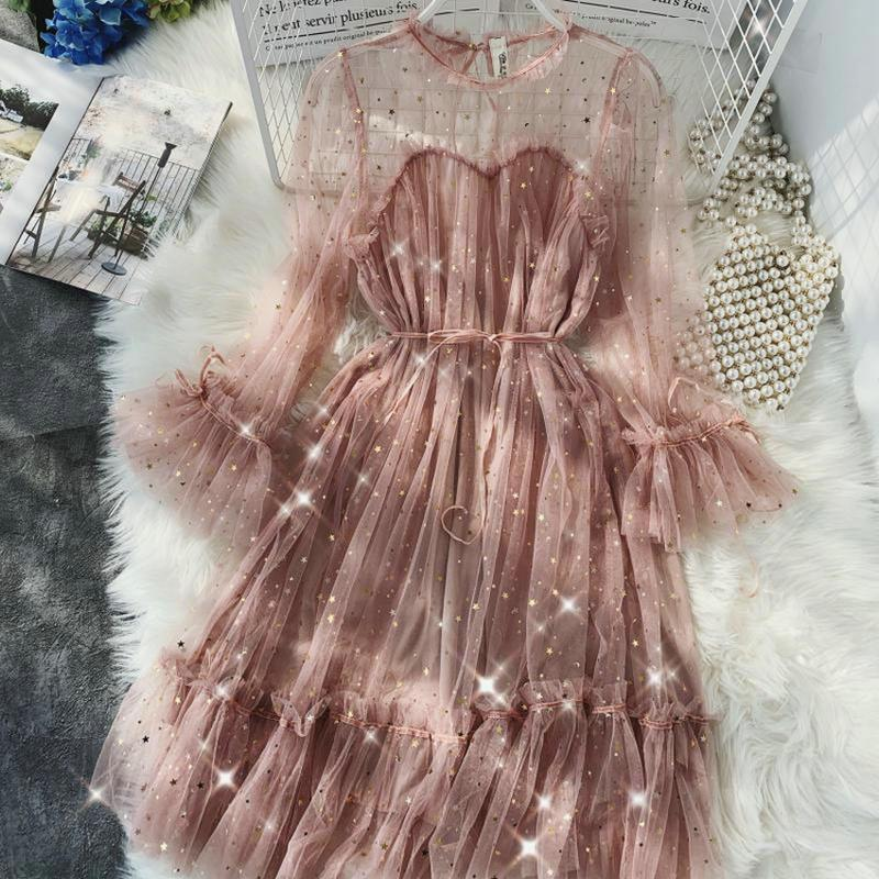 Spring New Female O-neck Flare Sleeve Stars Sequined Mesh Shiny Fairy Dress Women Solid Color Elegant Bling Pleated Dresses Q190509