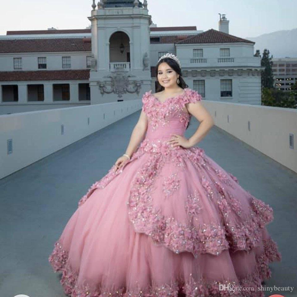 Luxurious Blush Pink Sexy Quinceanera Prom Dresses Beaded Crystals Hand Made Flowers Sheer Neck Evening Party Sweet 16 Dress SY12