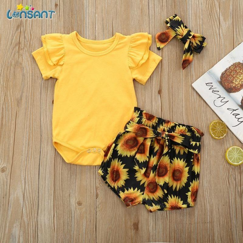 Lonsant 3 Parça Yenidoğan Yürüyor Bebek Giysileri Set Prenses Bebek Kız Kol Romper + Çiçek Pantolon + Kafa 0-24 Ay N30