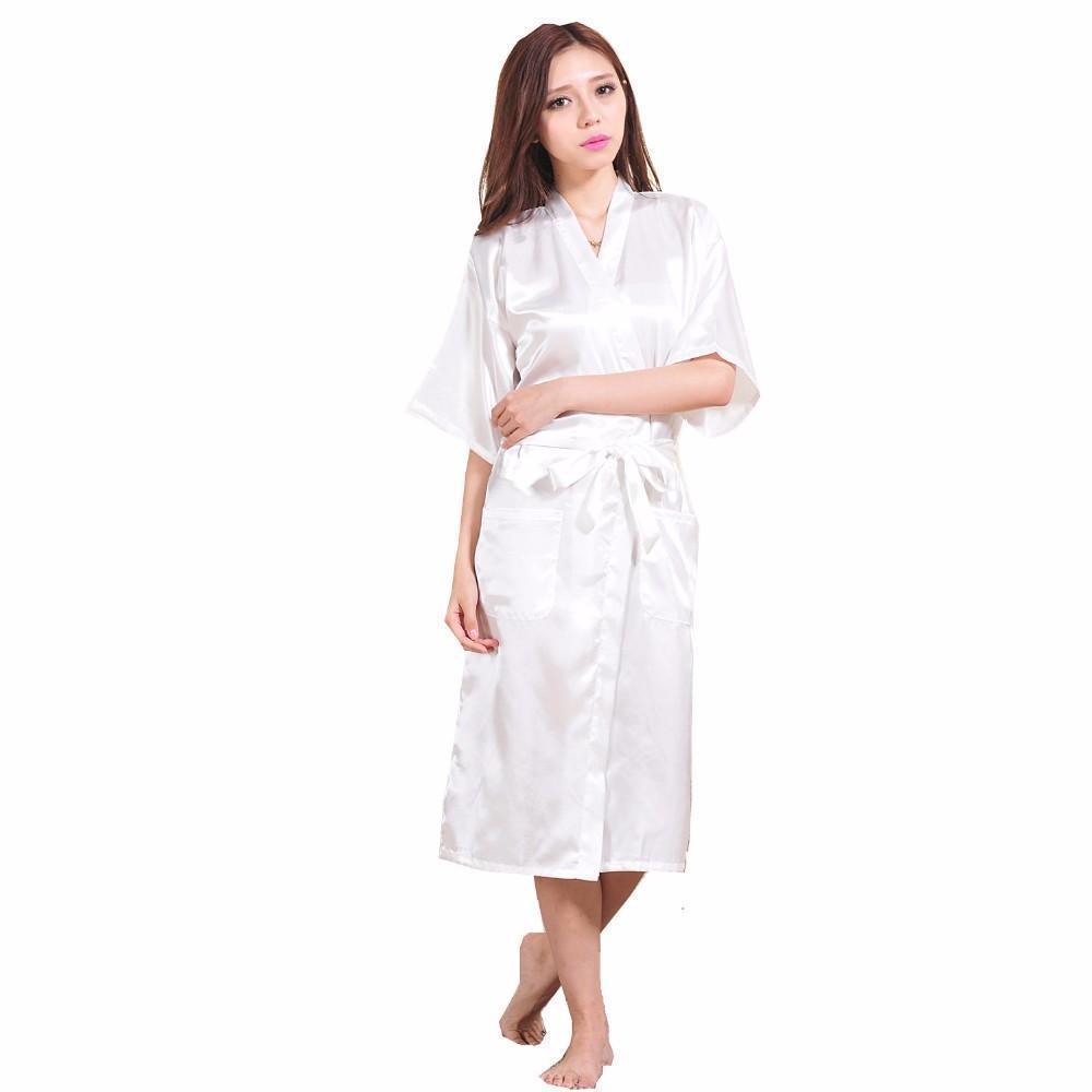 Wholesale- White Female Faux Silk Robe Bathrobe Women Sleepwear Kimono Bath Gown Nightgown Size S M L Xl Xxl Xxxl Mujer Pijama Ls002b
