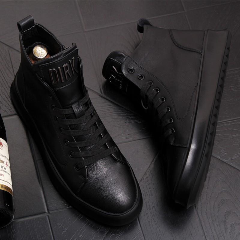Chaussures Martin hommes, bottes en cuir jeunes, chaussures en cuir à la cheville de tendance supérieure, jeans, chaussures à semelles épaisses pour hommes occasionnels avec 39W31 chaussure de planche à semelle souple