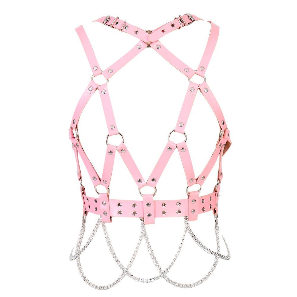 Pink Leather Body Harness Bra Set Hollow Out Top Bondage Skirt Rivet Neck Chain Punk Goth Plus Size Lovely Garter Belt Clothing