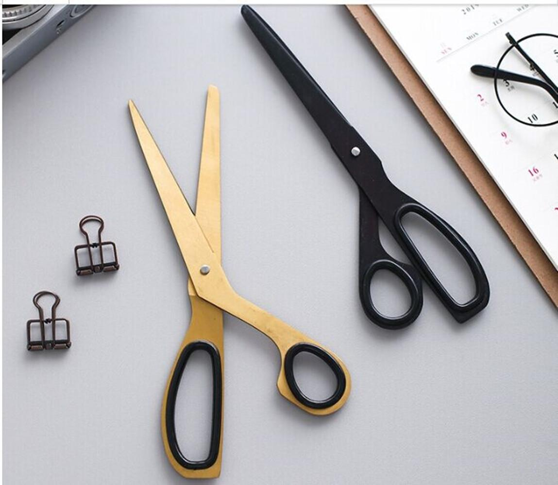 Aço inoxidável ergonômico bronze dourado Tesoura para a escola Home Office, Soft Grip Handle assimétrica design durável Multiuso DIY Scissors