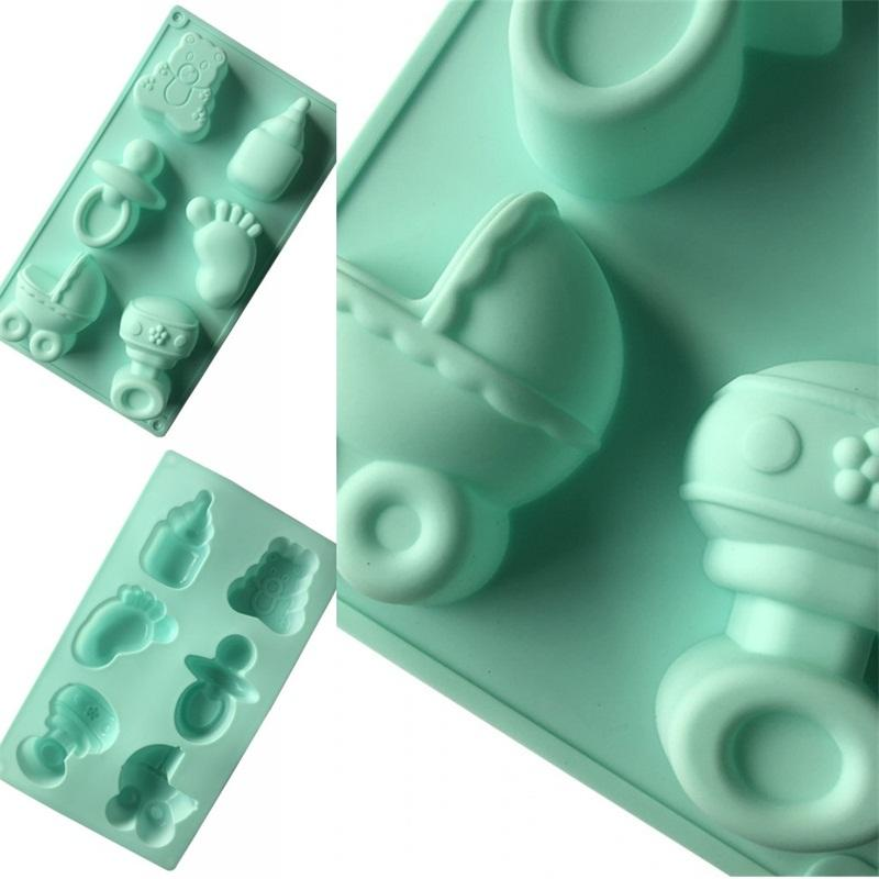 Pacifier Foot Modeling Cake Molds Baby Shower DIY Handmade Soap Mold 6 Holes Position Green Silicone Moulds 5xg L1