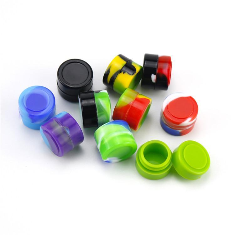 Silicone Container Food Grade Rubber 2ML Non-stick Round Mini Jars Dab Tool Rubber Storage Box Oil Holder Small Wax Container DHL