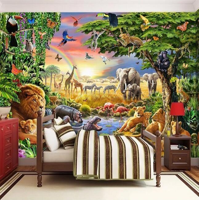 Foto feita sob encomenda Mural não tecido Wallpaper 3D Pastagem Leão animal do Zebra Crianças Sala dos desenhos animados Bedroom Pintura Home Decor Recados