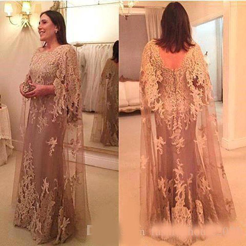 Hot Vintage Mutter der Braut-Kleider Jewel Ausschnitt SpitzeAppliques Mit Cape Mantel lang plus Größe Partei-Kleid Hochzeit Gastkleider