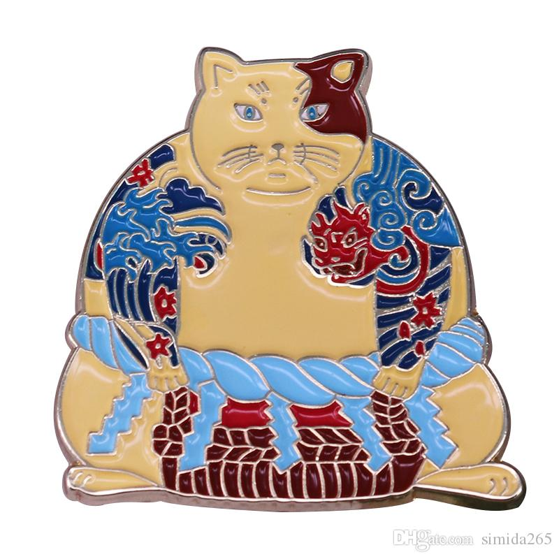 Sumo yakuza brooch fashion tatoo cat pin inspired by Japanese ukiyoe gorgeous jacket backpack addition