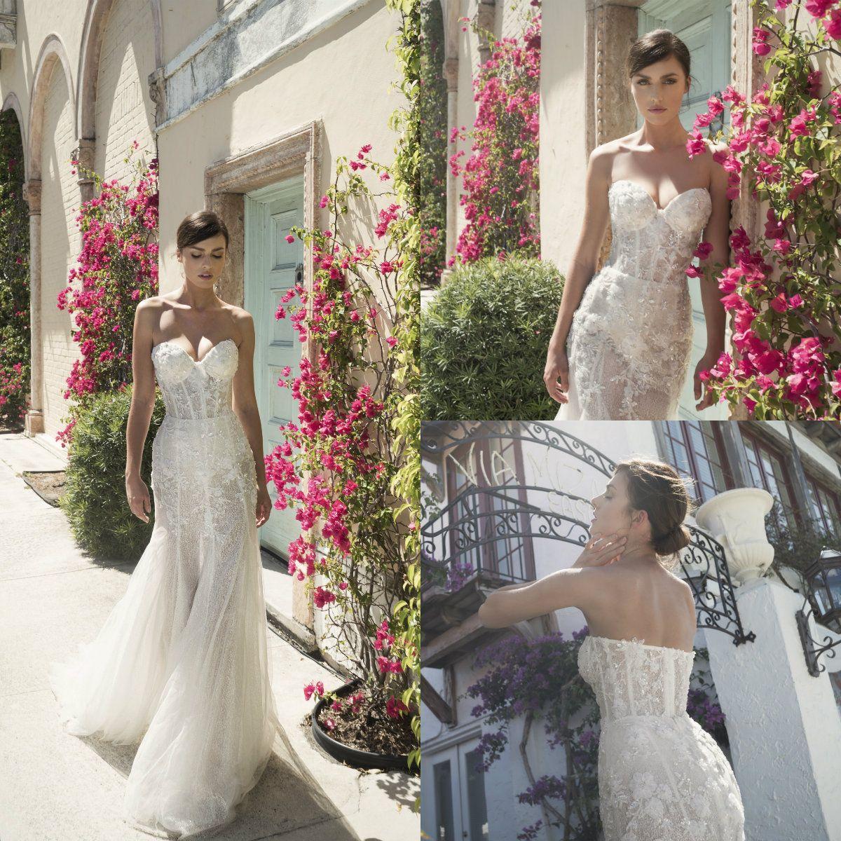 2019 Lindo Sereia Vestidos de Noiva Ilusão Querida Exposto Desossa Apliques de Noiva Vestidos de Lantejoulas Com Zíper de Volta Vestido de Noiva de Tule