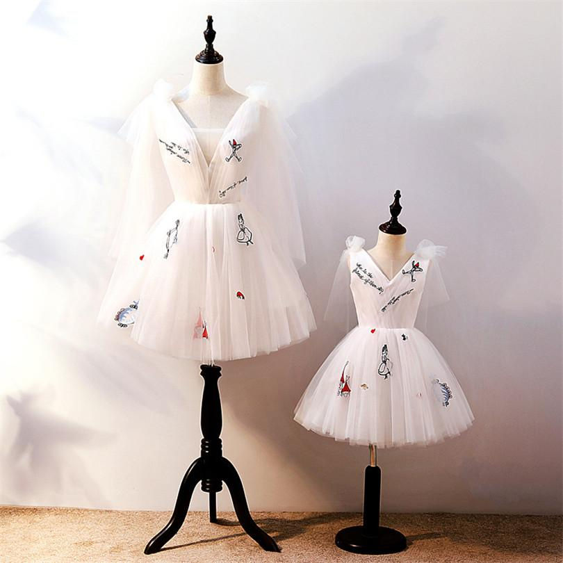 Mother Daughter Dresses Family Look Birthday Wedding Party Mom And Daughter Dress Ball Gown Lace Mommy And Me Gowns Clothes
