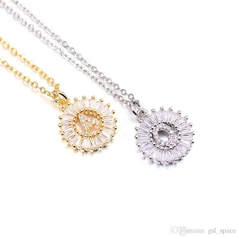 Venta Caliente, A-Z Iniciales joyería 3 colores elige Micro Pave CZ Carta de los collares pendientes para las mujeres del encanto de la cadena Familia regalo