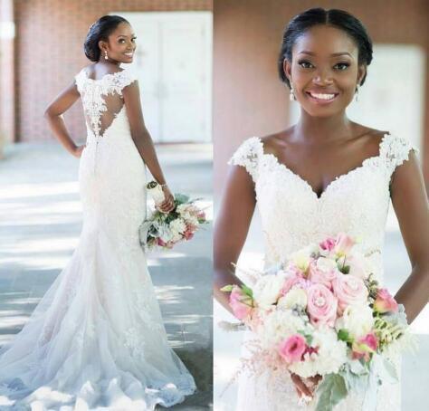 Africano sirena vestidos de novia de encaje apliques 2020 Cap mangas correas Ilusión cubierto botones Atrás País del vestido de boda vestido de novia