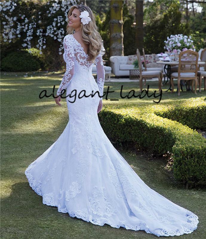 섹시한 웨딩 드레스 인어 롱 슬리브 레이스 진주 Appliques Gorgesous 2020 플러스 사이즈 Applique Garden Country Bride Wedding Dress