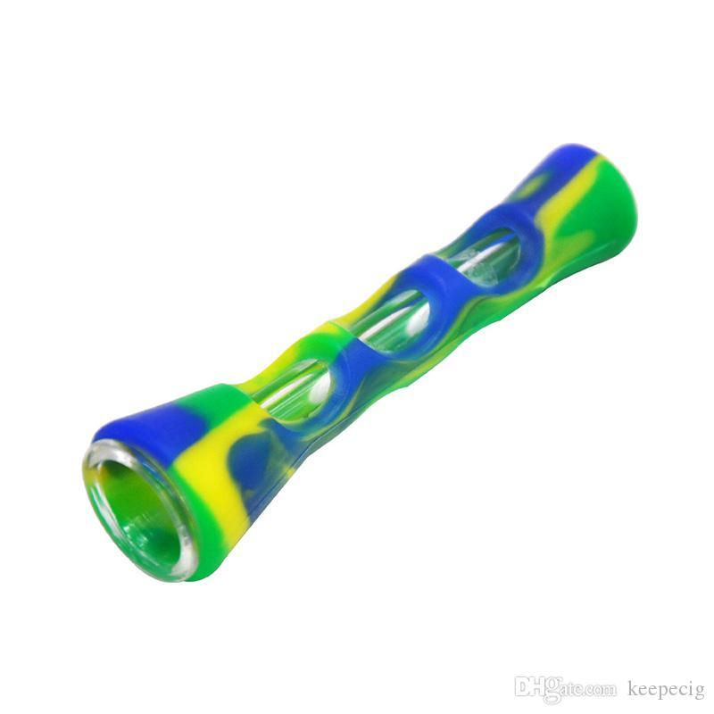 Новая силиконовые курительный табак рука труба с Стеклянными трубами Unbreakable гибкой силиконового мазок вышки табак трубой