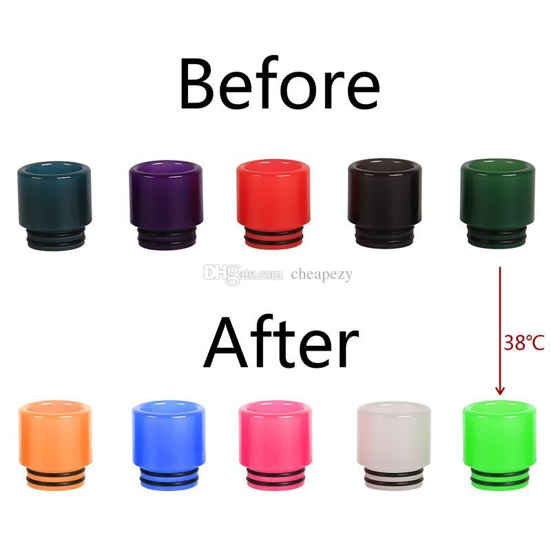 Cambiare colore Drip Tip Epoxy Resin Allochroic Bocchino adatta 810 atomizzatori serbatoio e sigaretta cambiare i colori a diverse temperature