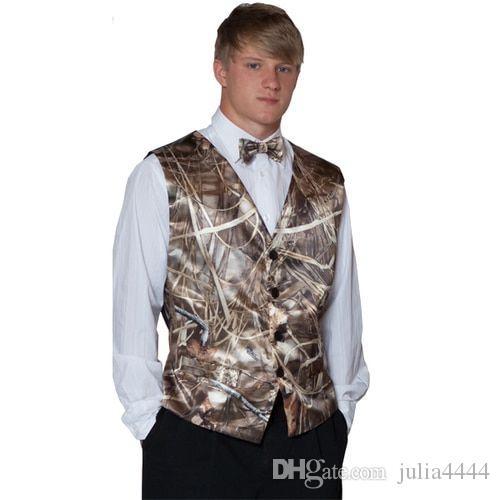 Camo impresso homens coletes para o noivo de casamento desgaste camuflagem slim encaixe 2 pedaço conjunto (colete + gravata) feito sob encomenda feita plus size bestamen trajes waistcoat