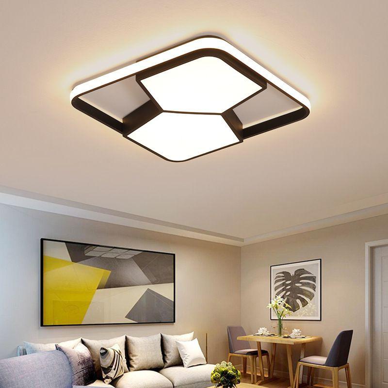 ساحة / مستطيل الحديثة أدى سقف lihgts لغرفة المعيشة أضواء غرفة السرير lampada أبيض / أسود الصمام مصباح السقف مصباح مصابيح