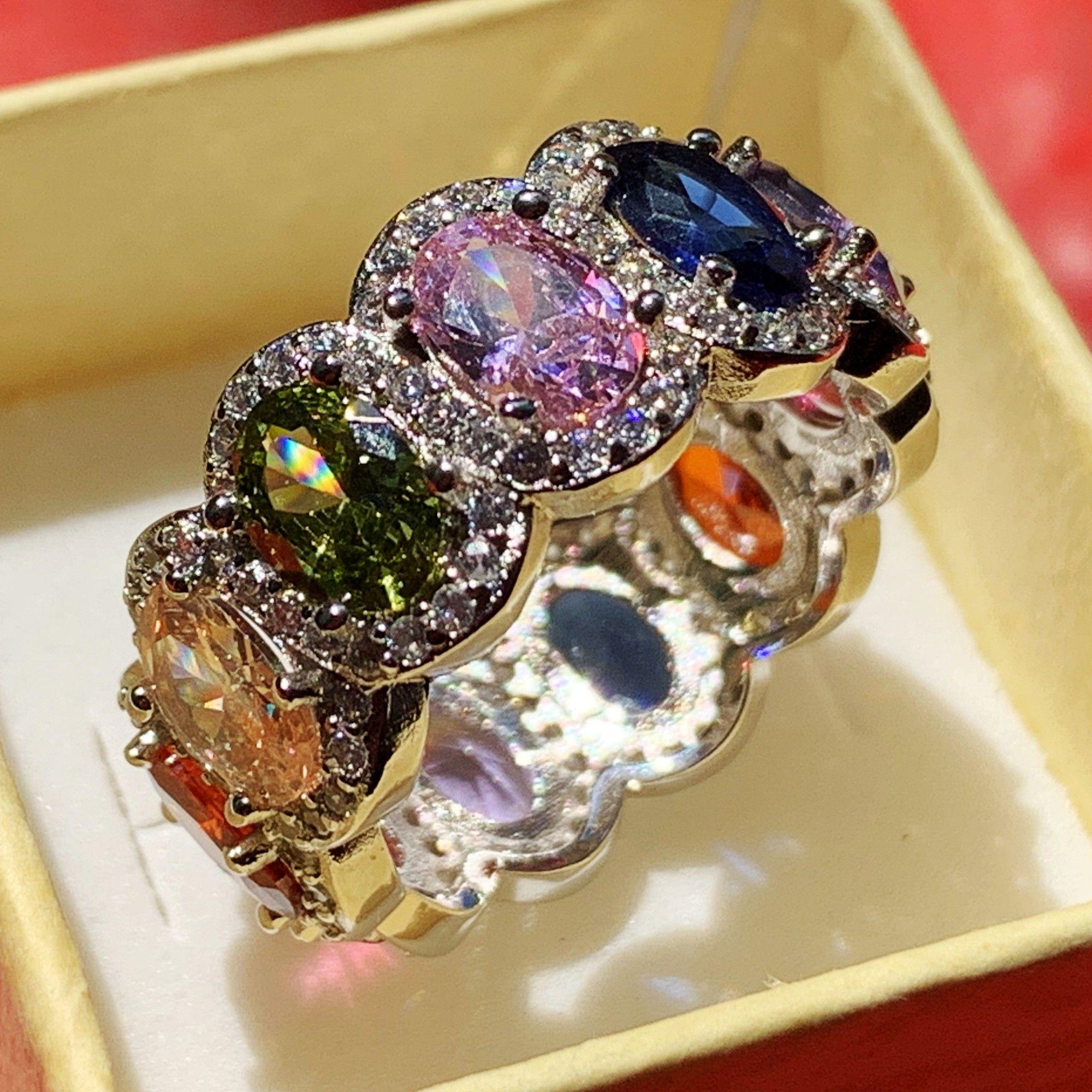 2019 Nova Chegada Espumante Moda Jóias Venda Quente 925 Sterling Silver Multi Topázio CZ Diamante Eternidade Oval Wedding Band Anel para As Mulheres