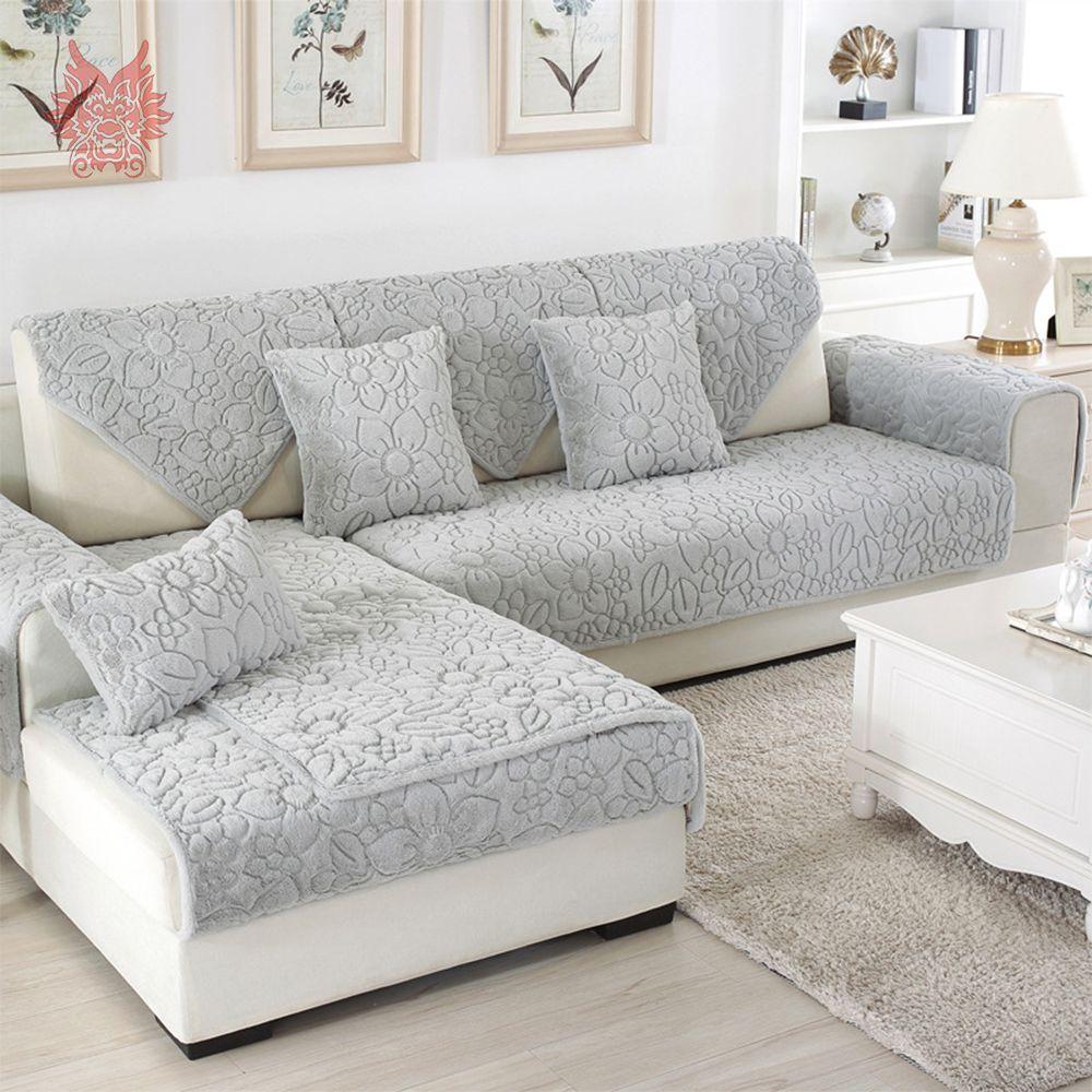 Blanco gris floral acolchado sofá funda de felpa fundas de piel larga fundas de sofá seccional sofá cubre fundas de SP4957